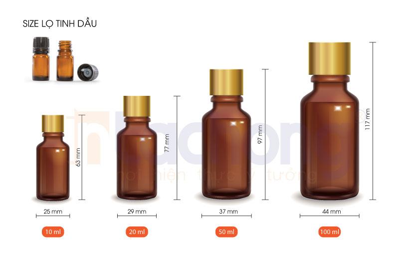 Kích thước lọ tinh dầu thông dụng trên thị trường
