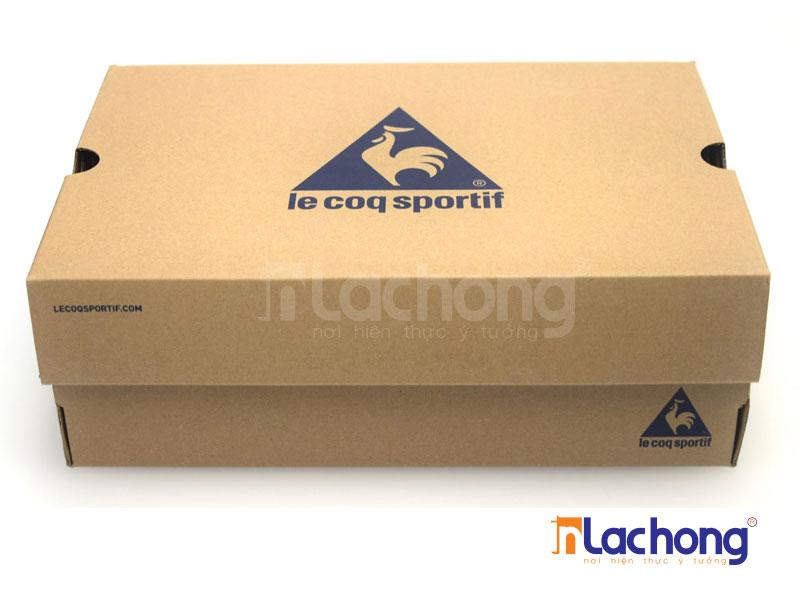 Sản xuất hộp giấy đựng giày bằng chất liệu cartong sóng in 1 mầu xanh pha