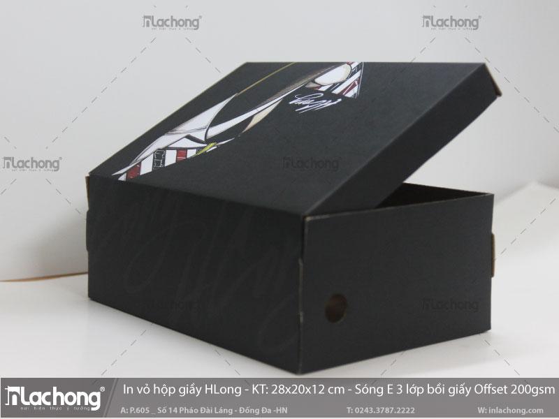 sản xuất hộp giấy đựng giày HLONG bằng chất liệu giấy Offset bồi Cartong sóng
