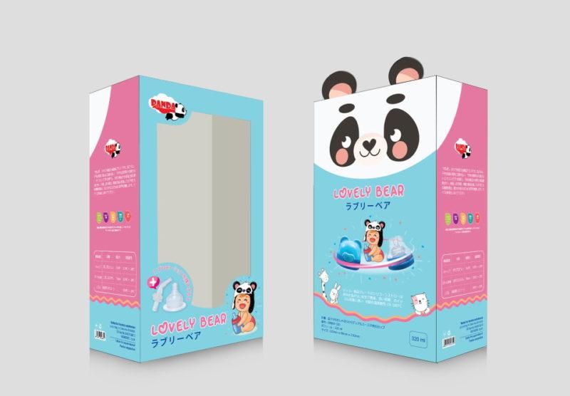 thiết kế in hộp giấy đựng bình sữa panda