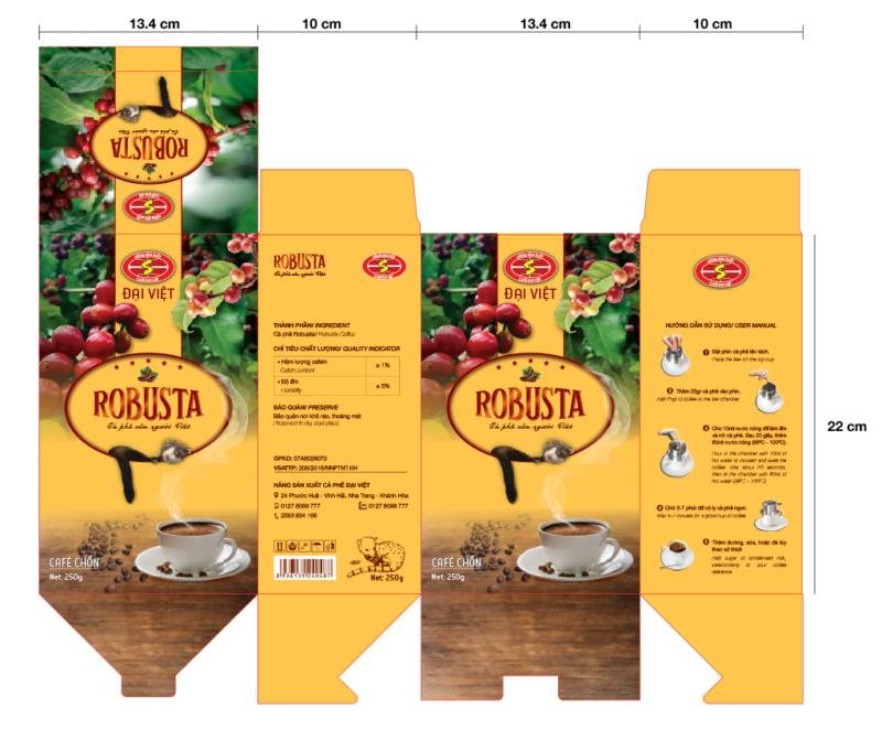 Thiết kế hộp giấy đựng cafe chồn