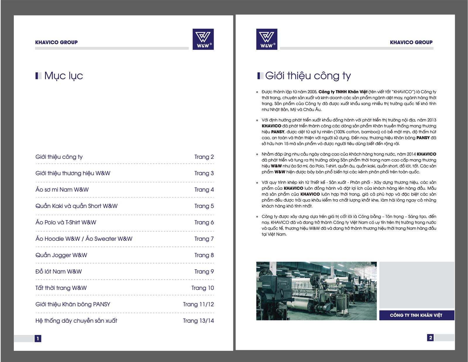Trang giới thiệu của catalogue nên trình bày trong một trang bao gồm chữ và ảnh.