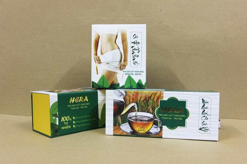 In hộp thực phẩm chức năng trà gạo lứt Hera