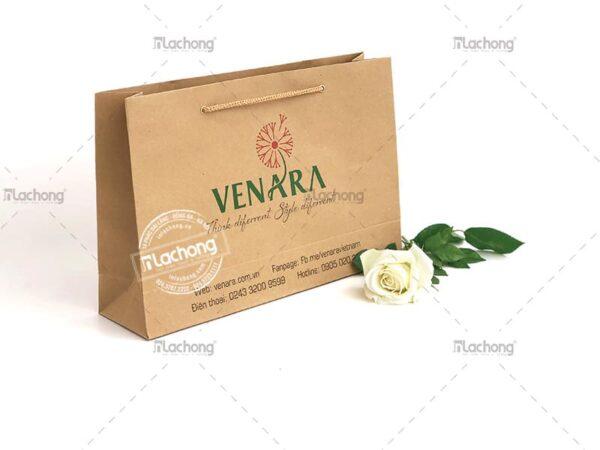 Mẫu túi giấy Kraft có quai do Lạc Hồng thiết kế cho nhãn hiệu thời trang Venara