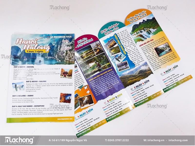 Catalogue kiểu tờ gập giới thiệu, quảng bá dịch vụ du lịch tour Hà Nội - Hạ Long.