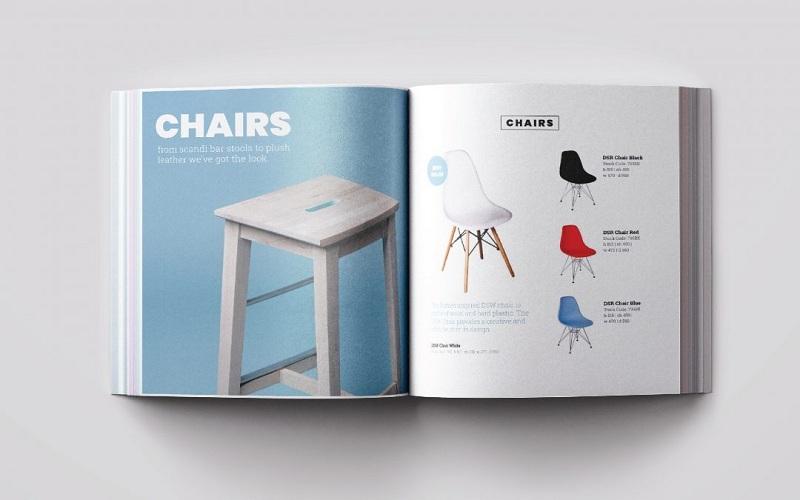 In catalogue a4 quảng cáo nội thất ghế, được bố trí hài hòa và cân đối