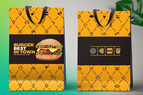 Mẫu túi giấy có kích thước lớn, đựng được nhiều Hamburger hơn
