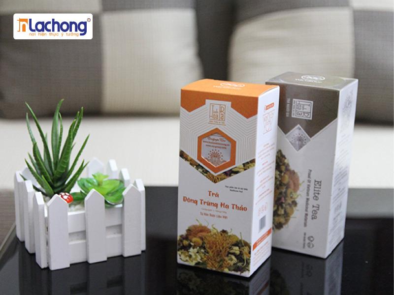 Mãu hộp trà đông trùng hạ thảo được thiết kế tại Lạc Hồng.