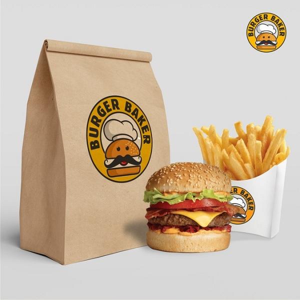 Thiết kế túi giấy đựng Hamburger bằng giấy kraft, rẻ và bảo vệ môi trường.
