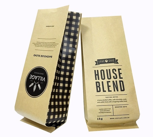 Mẫu túi giấy đựng cafe dạng bột hoặc hạt phổ biến hiện nay