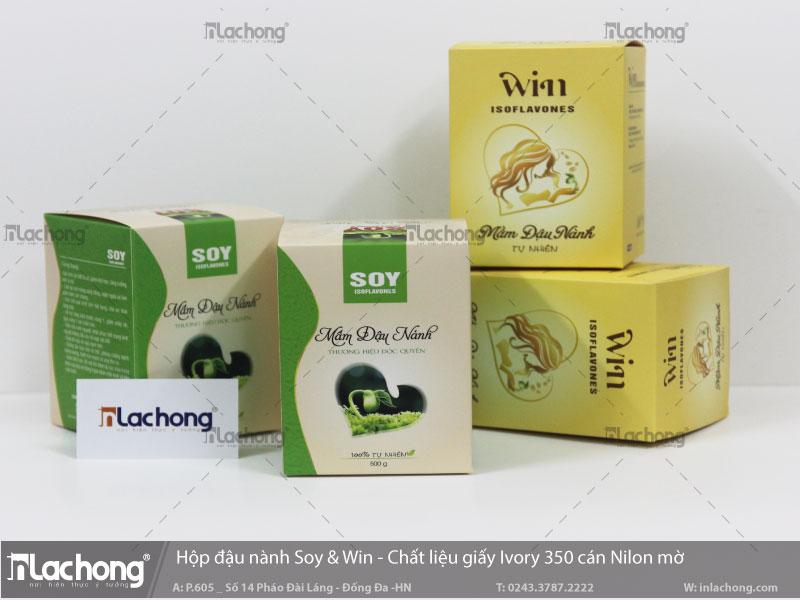 Hộp giấy đựng sản phẩm mầm đậu nành Soy & Win của Lạc Hồng