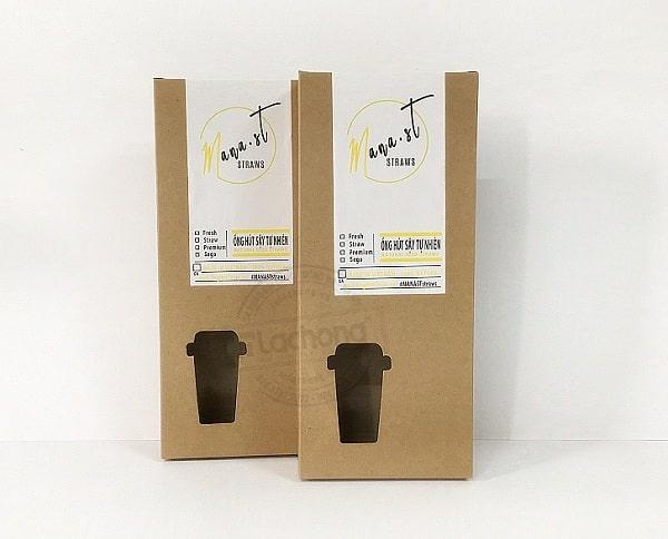 In hộp giấy kraft đựng ống hút do Lạc Hồng sản xuất