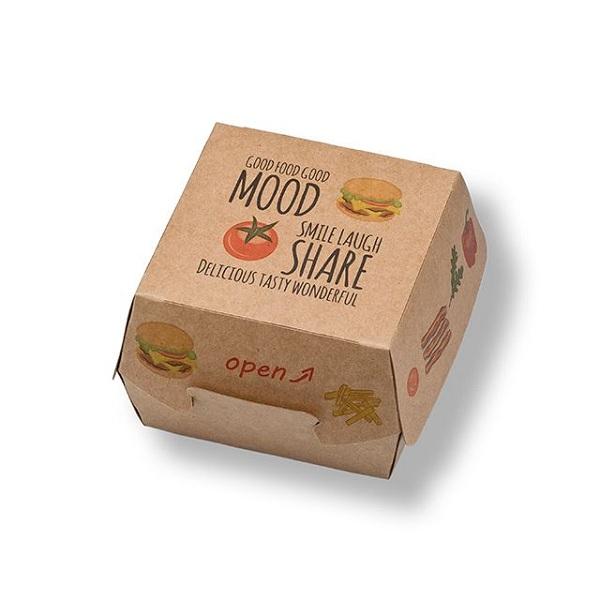In hộp giấy kraft đựng hamburger, với các loại đồ ăn nhanh thì kraft là sự lựa chọn hợp lí nhất.