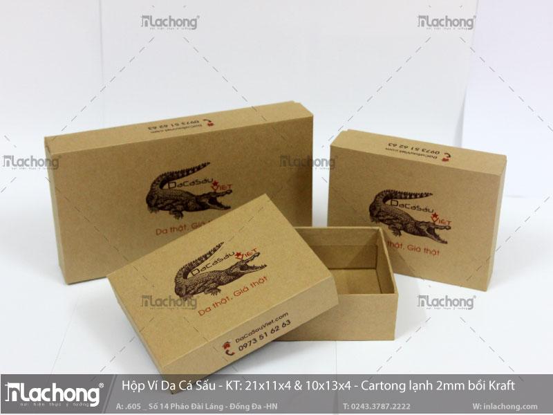 Bao bì hộp giấy đựng ví, vỏ hộp âm dương được làm bằng carton lạnh bồi thêm kraft.