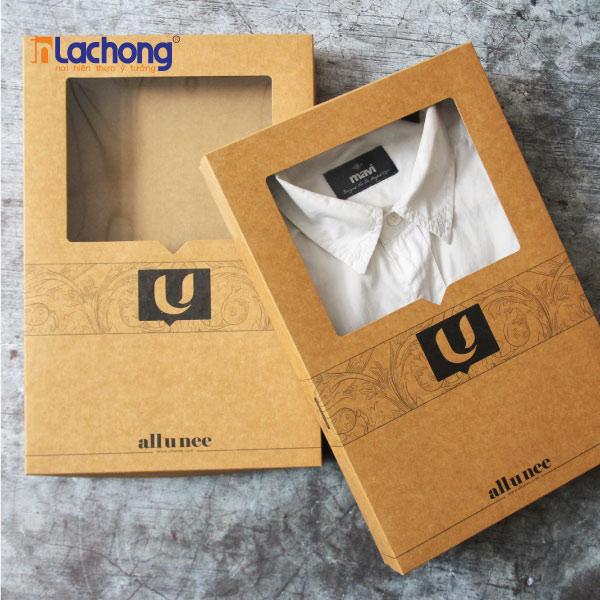 Hộp giấy kraft cho shop thời trang, có bóng kính, tăng sự sang trọng và tươi mới cho sản phẩm.