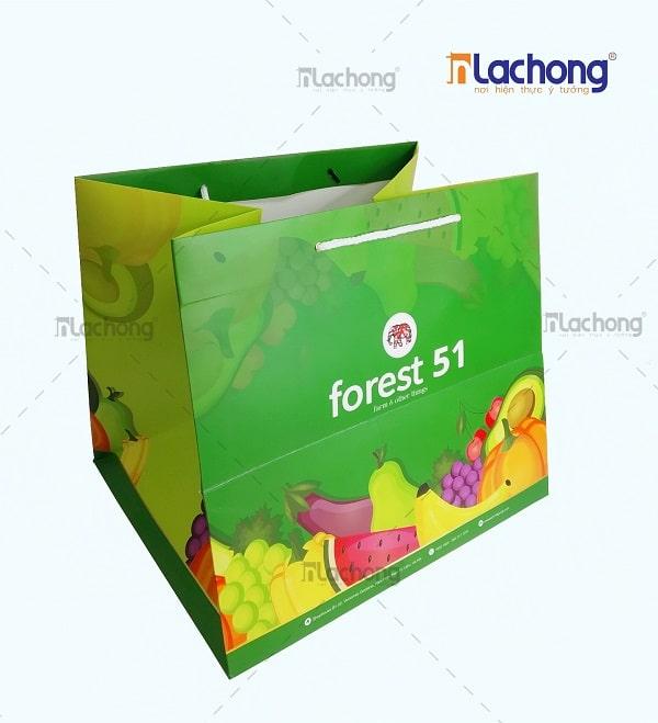 Túi giấy đựng hoa quả tươi siêu thị Deli mart của Lạc Hồng