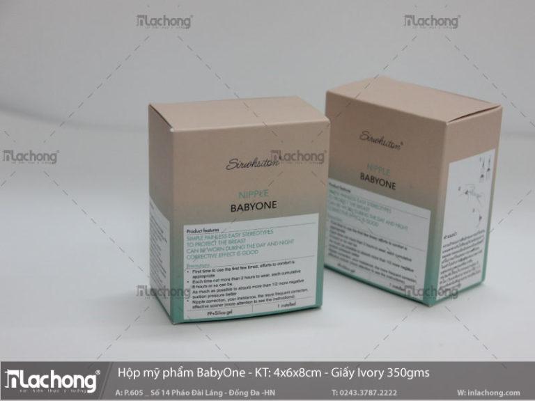 Hộp mỹ phẩm babyOne, định lượng giấy 350gms, sản phẩm được dùng để xuất khẩu nên sẽ được in nhãn sản phẩm, cung cấp thông tin chính xác nhất.