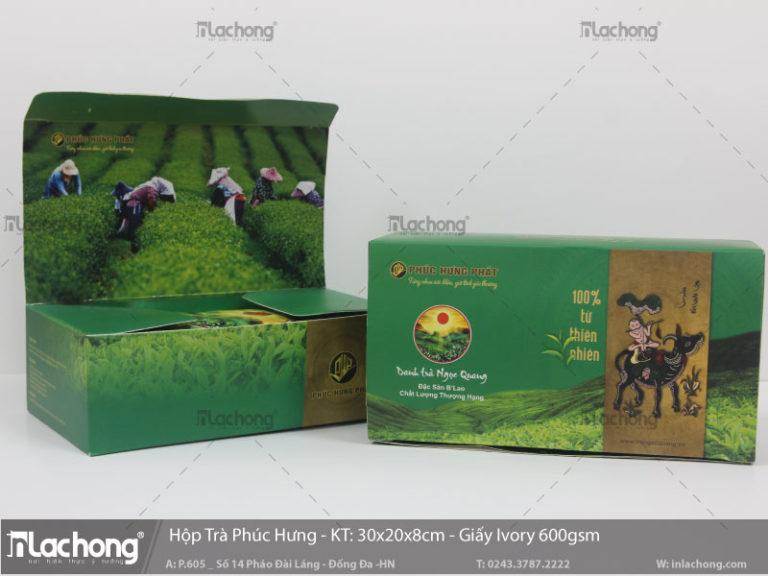 Hộp giấy ivory đựng trà Phúc Hưng Phát, định lượng 600gsm, thiết kế khéo léo cả mặt trong của bao bì vỏ hộp, tạo ấn tượng tốt với khách hàng.