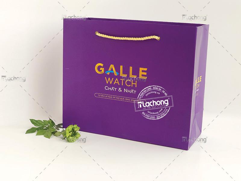 Túi giấy in logo GALLE WATCH do Lạc Hồng thiết kế và in ấn