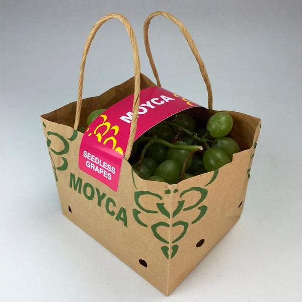 Túi giấy đưng trái cây bằng giấy krfat, có in tem, nhãn để cố định và khẳng định chất lượng sản phẩm