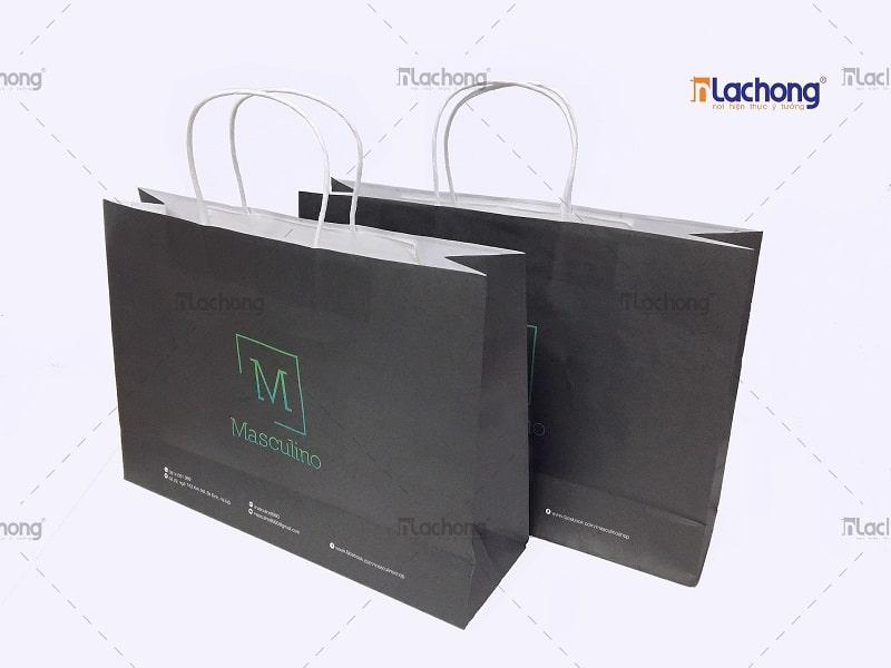 Túi giấy kraft trắng có quai đựng quần áo do Lạc Hồng sản xuất