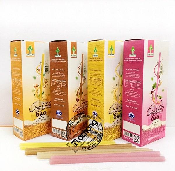 Bộ hộp giấy đựng ống hút gạo do Lạc Hồng sản xuất