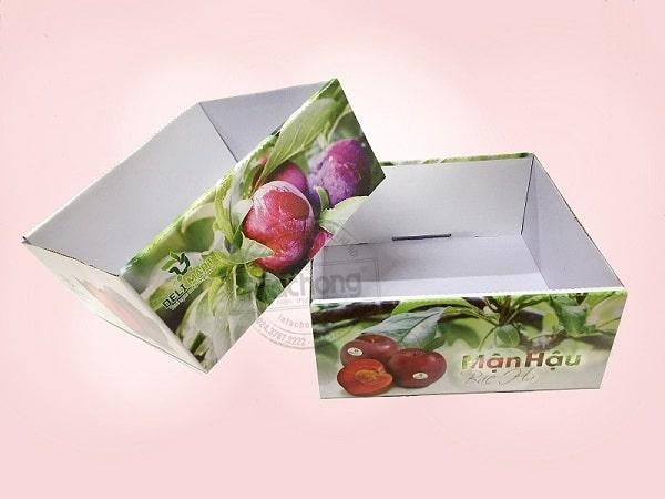 Sản xuất khay giấy đựng trái cây ( mận) siêu thị DELI MART