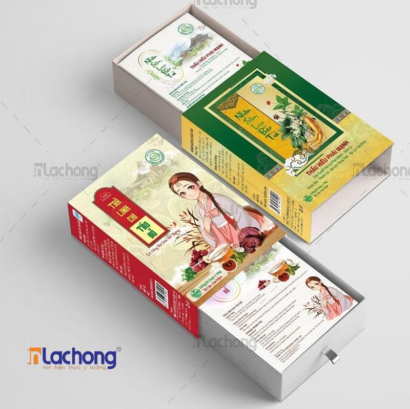 Thiết kế hộp đựng trà Linh Chi của Lạc Hồng