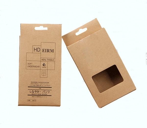 Hộp giấy kraft đựng đồ lót có móc treo - giúp trưng bày sản phẩm hiệu quả hơn