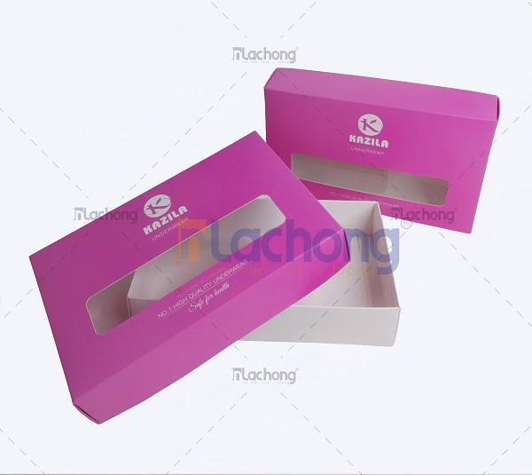 In hộp giấy đựng đồ lót Kazila do Lạc Hồng thiết kế & sản xuất