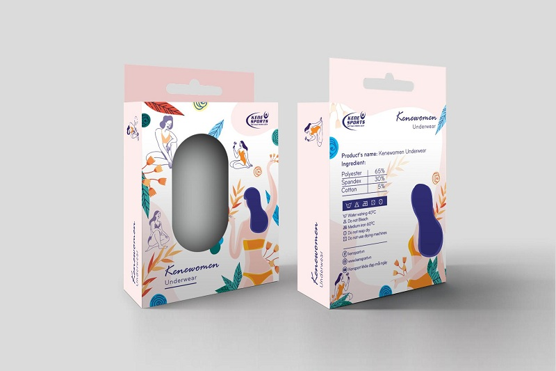 Thiết kế hộp giấy đựng đồ lót kene sports của Lạc Hồng