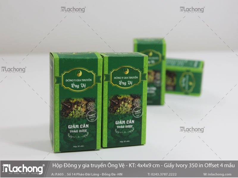 In hộp trà giảm cân đông y gia truyền ông vệ