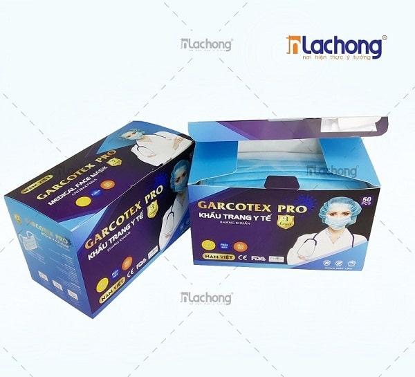 Mẫu in vỏ hộp khẩu trang y tế Garcotex Pro do Lạc Hồng sản xuất
