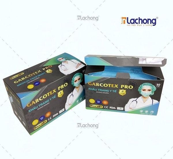In hộp giấy đựng khẩu trang y tế 4 lớp Garcotex Pro