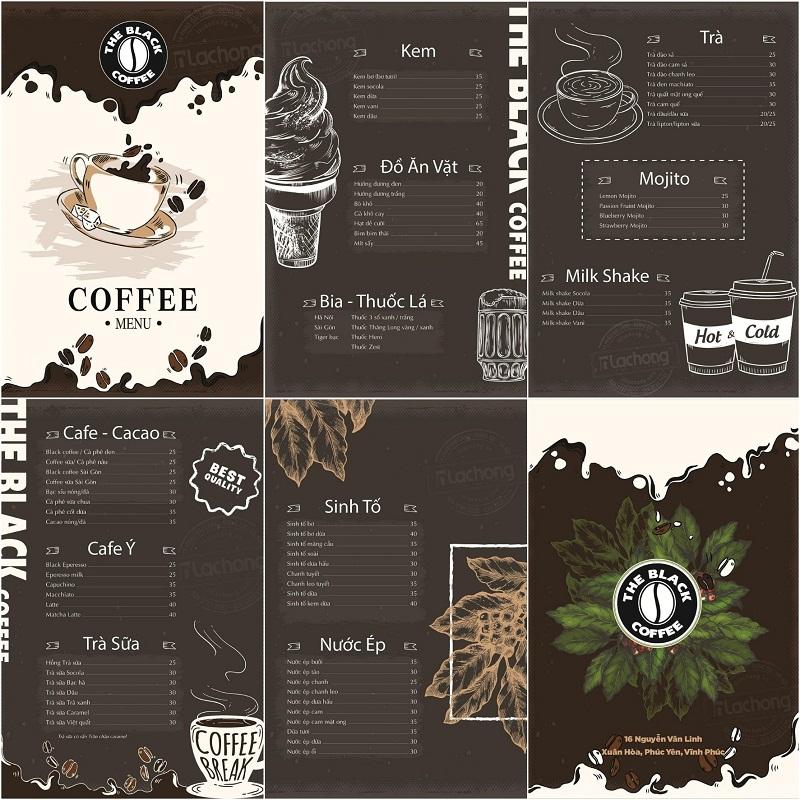 Thiết kế menu cafe, đồ uống của Lạc Hồng