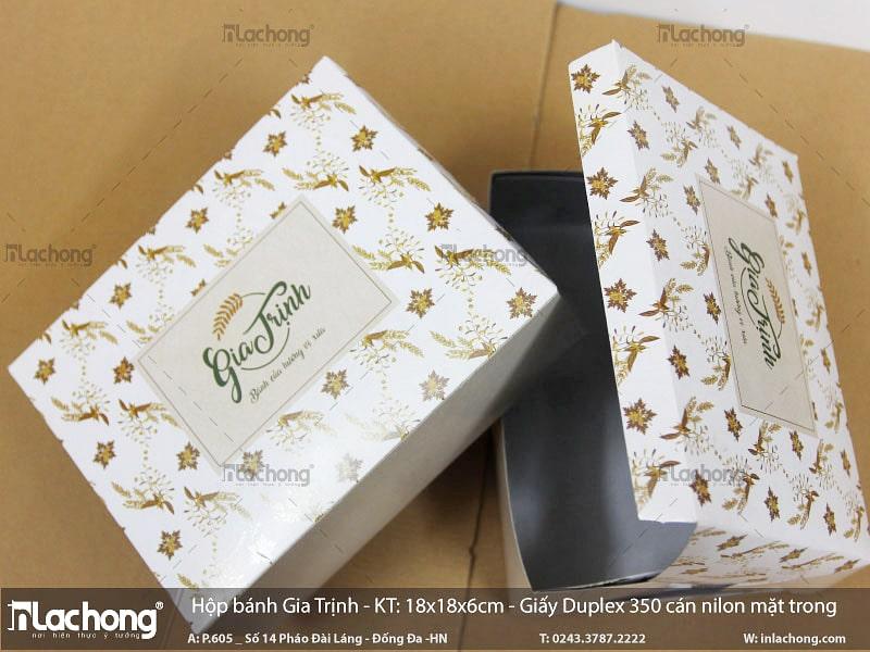 In hộp giấy đựng bánh Gia Trịnh bằng chất liệu Duplex định lượng 350gsm