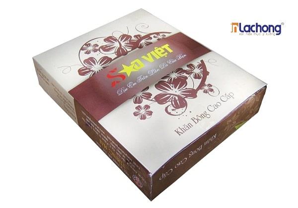 Vỏ hộp khăn bông Sao Việt do Lạc Hồng sản xuất