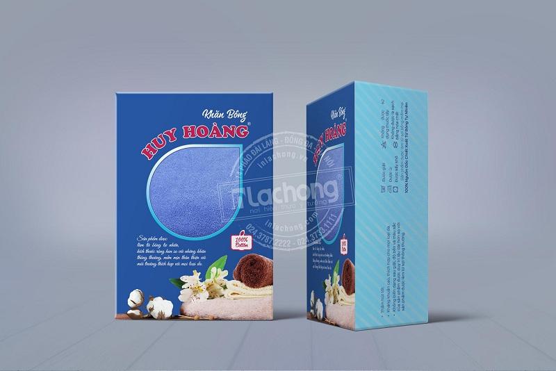 Thiết kế hộp giấy đựng khăn bông Huy Hoàng của Lạc Hồng