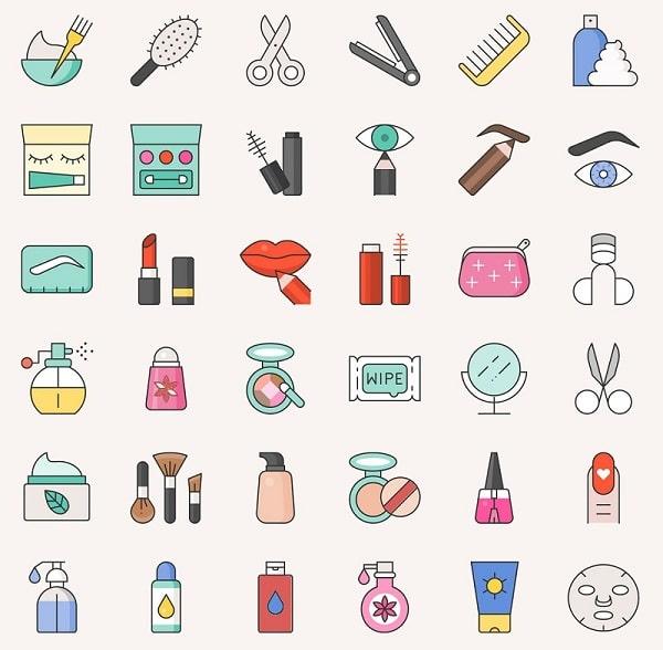 Một số mẫu icon mỹ phẩm đẹp