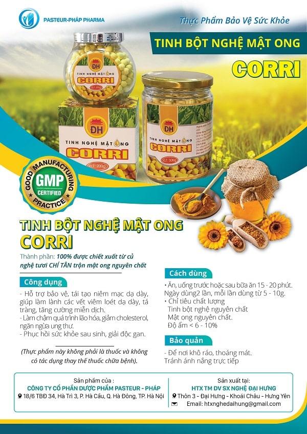 Mẫu thiết kế tờ rơi quảng cáo tinh bột nghệ mật ong CORRI