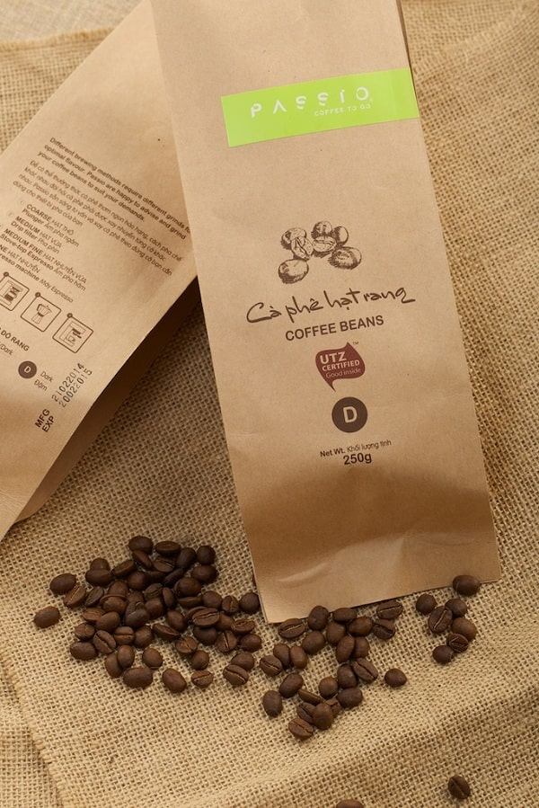 Mẫu túi giấy kraft nhỏ đựng cafe