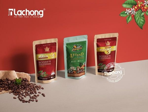 Mẫu thiết kế nhãn dán túi zip đựng cà phê của Lạc Hồng