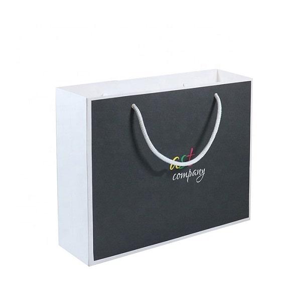 Mẫu thiết kế túi giấy kraft trắng với mặt đen làm nổi bật nên logo thương hiệu