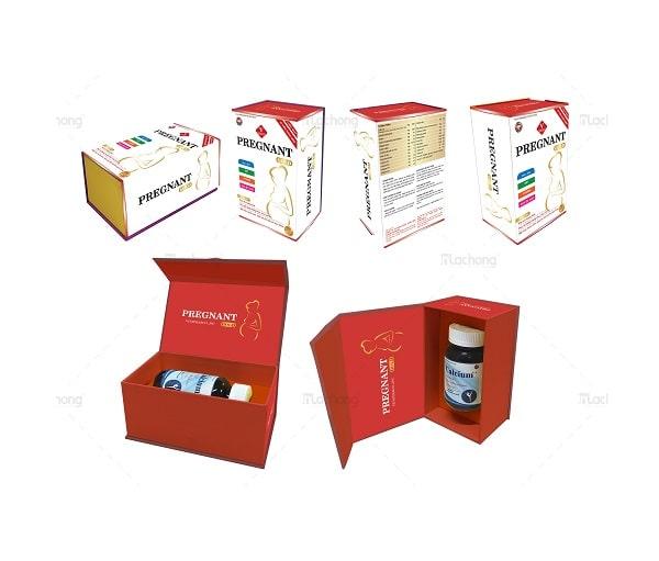 Mẫu hộp giấy thực phẩm bổ sung vi chất cho phụ nữ mang thai thiết kế ấn tượng