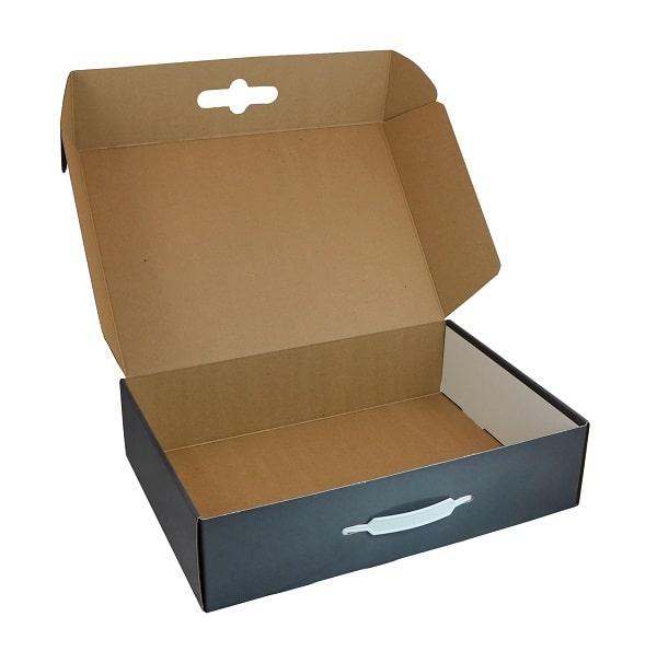 Mẫu hộp carton sóng đựng vịt quay dạng dây nhựa
