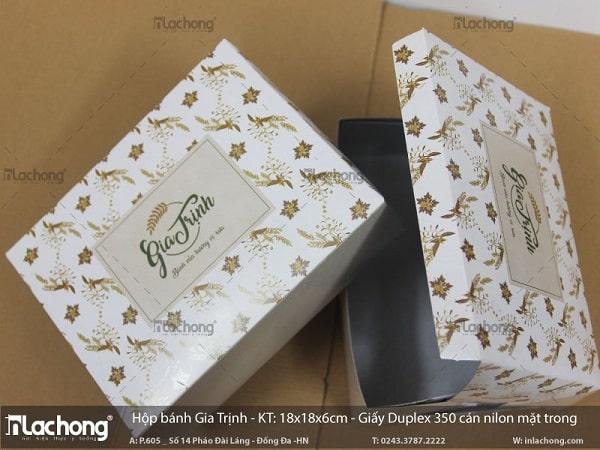 Sản xuất hộp bánh Gia Trịnh bằng giấy Duplex