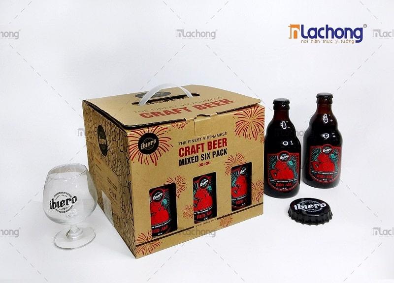 Sản xuất hộp carton đựng bia có quai nhưa - dễ cầm, nắm, tính thẩm mỹ cao