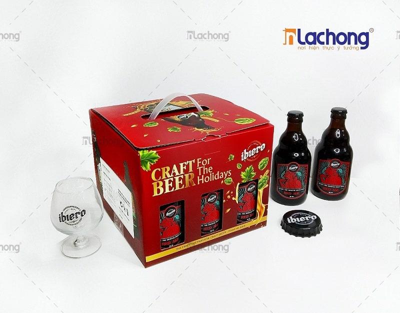 Sản xuất hộp carton sóng bồi đựng bia ibiero của Lạc Hồng - có kèm khay bên trong
