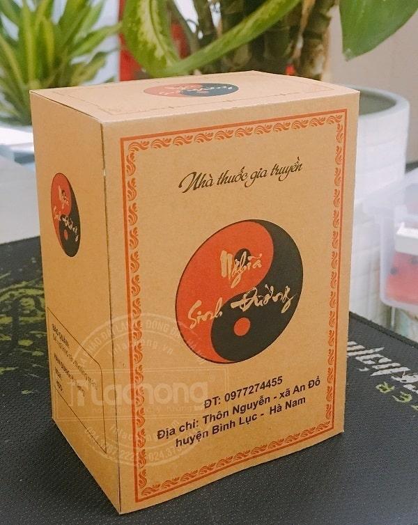 Mẫu in hộp giấy đựng thuốc chất liệu Kraft