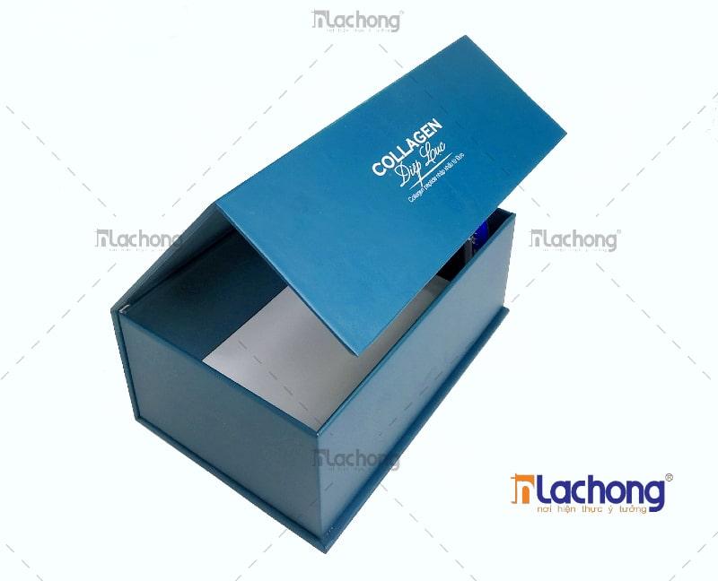 Sản xuất hộp mỹ phẩm Collagen Diệp Lục - hộp carton lạnh nắp nam châm